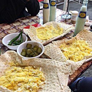Tehran Grand Bazaar, Egg and Potato Morsels Served with Doogh-e Abali