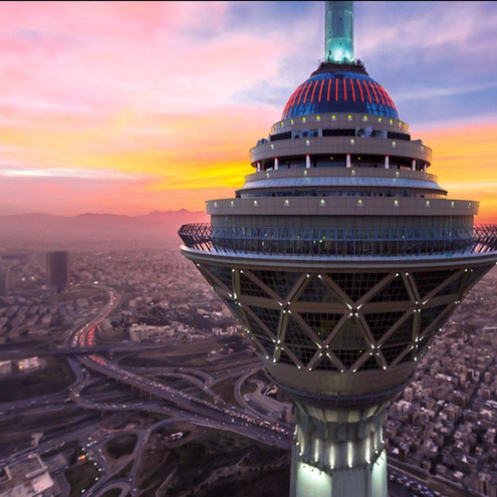 Milad Tower Pod at Sunset